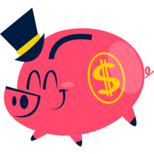 Ping piggy bank with a dollar sign