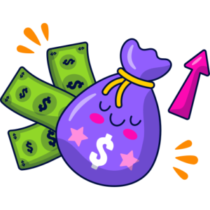 Purple Money bag with an arrow pointing up