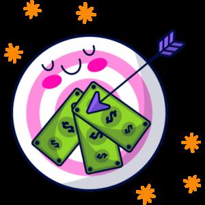 Money target with an arrow